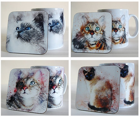 Time spent with cats is never wasted - set of four mugs and coasters