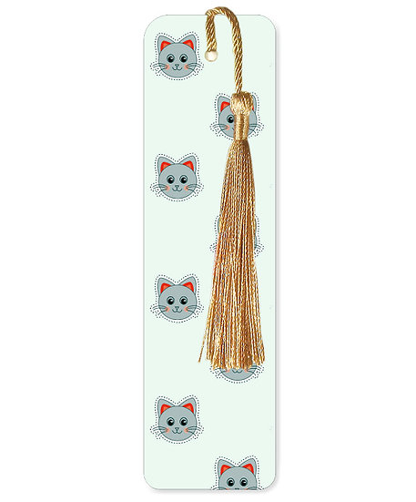 Grey cats bookmark with tassel