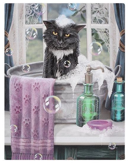 Lisa Parker 'Bath Time' cat canvas wall plaque