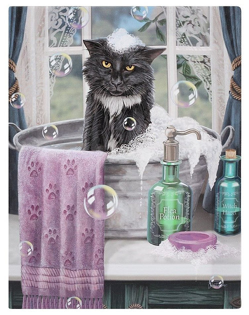 Lisa Parker 'Bath Time' cat canvas wall plaque