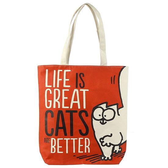 'I'm Feline Good' Simon's cat zipped cotton bag - red