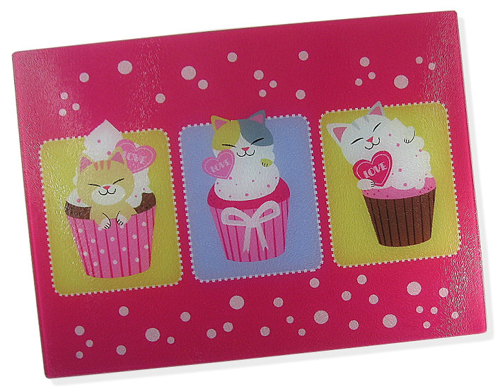 The Cupcake Cats glass chopping board