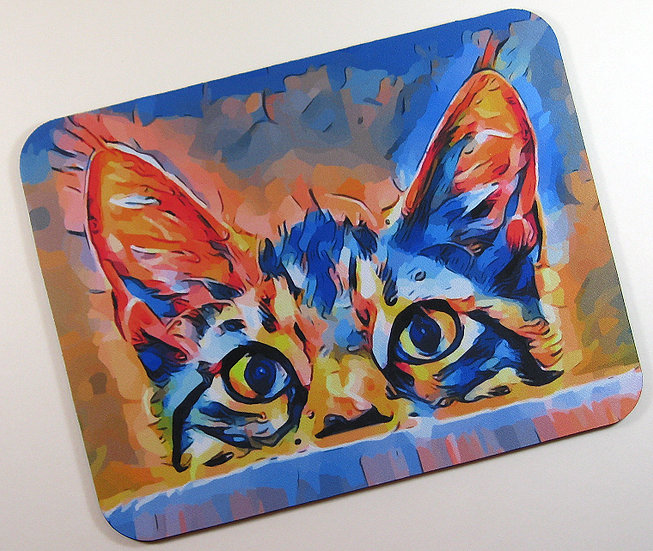 Pushka cat fabric topped mousemat