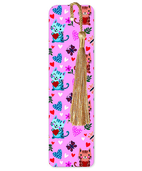 Cats and butterflies bookmark with tassel