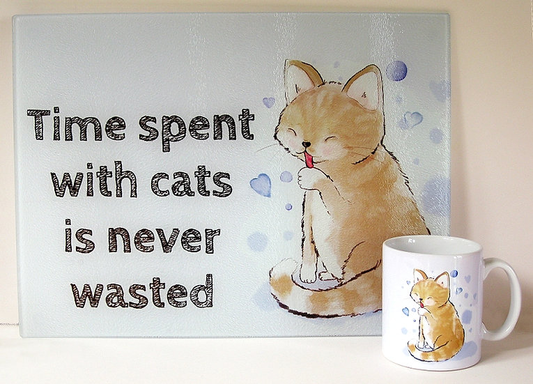 Sandy cat 'Time spent with cats is never wasted' glass chopping board