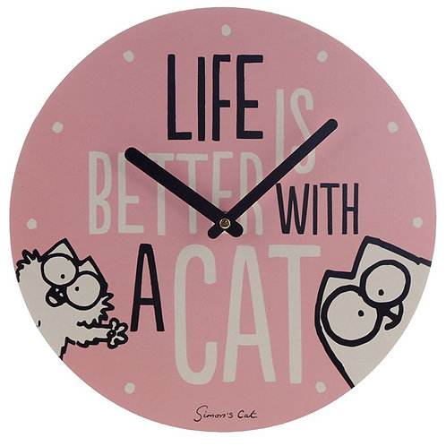 Simon's Cat - 'Life is better with a cat' clock