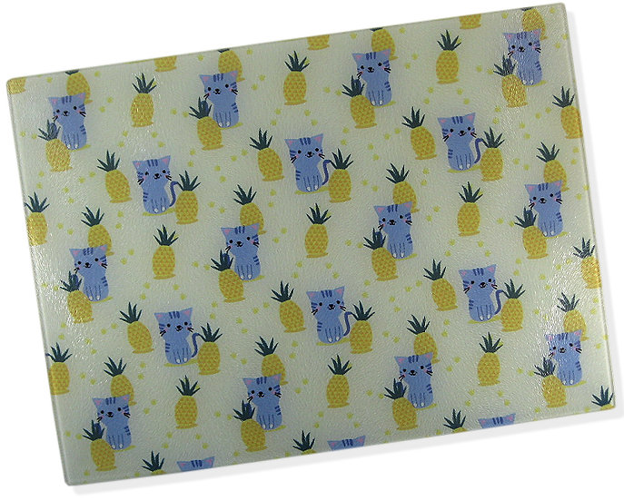 The Pineapple Cat glass chopping board
