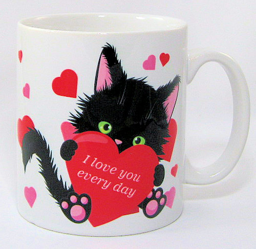 'I love you everyday' cat mug