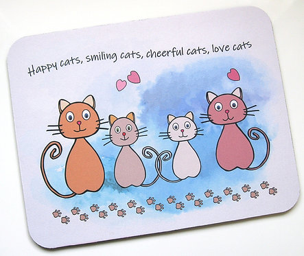 Happy cats fabric topped mousemat