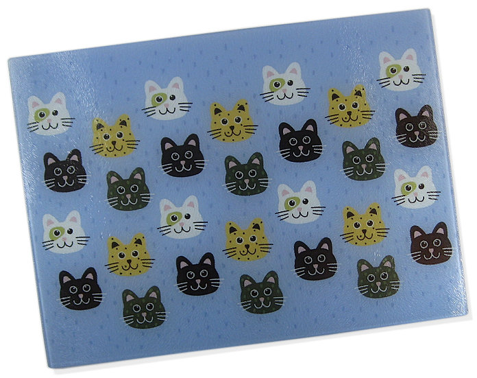 The Smiling Cats glass chopping board