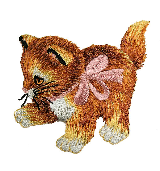 Ginger kitten heat seal iron-on embroidery badge