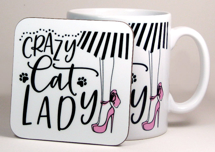 'Crazy cat lady' mug and optional coaster