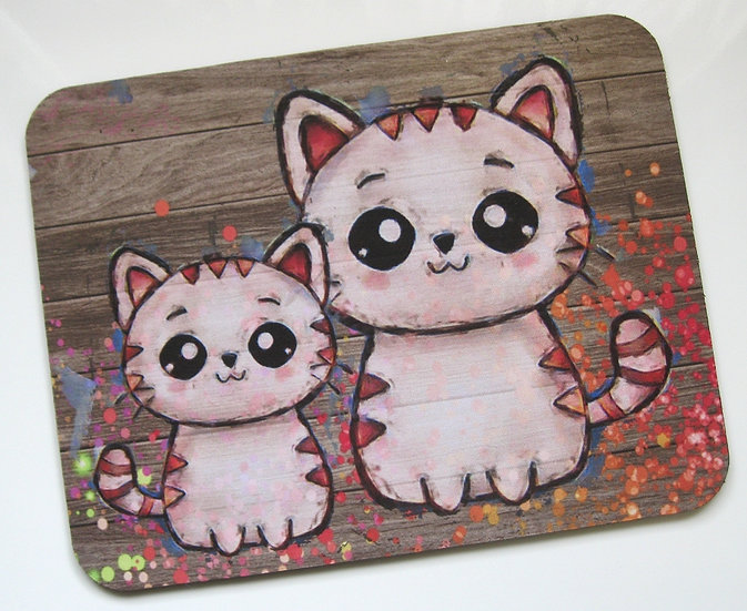 Cute cats fabric topped mousemat