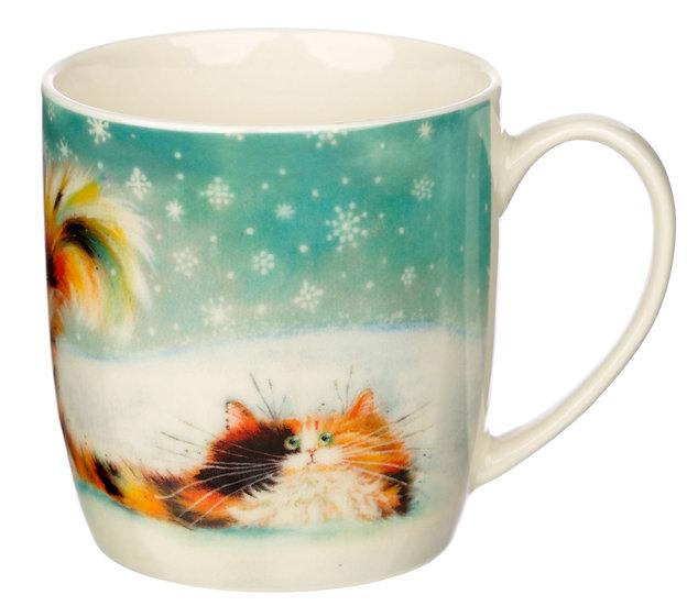 Kim Haskins Christmas ginger cat porcelain mug