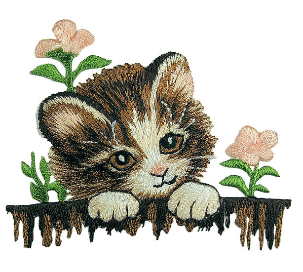 Kitten and flowers heat seal iron-on embroidery badge