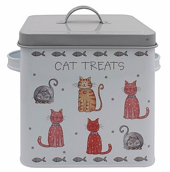 Cat treats metal box with lid