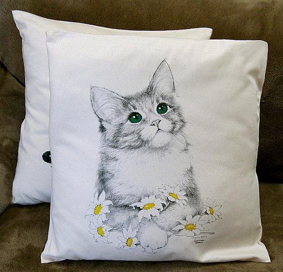 Daisy cat cotton cushion