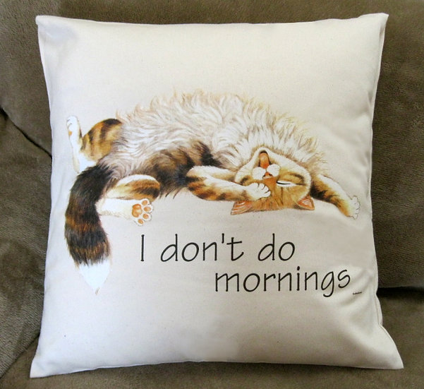 I don't do mornings cotton cat cushion