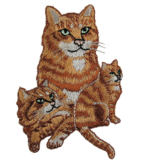 Ginger cats heat seal iron-on embroidery badge