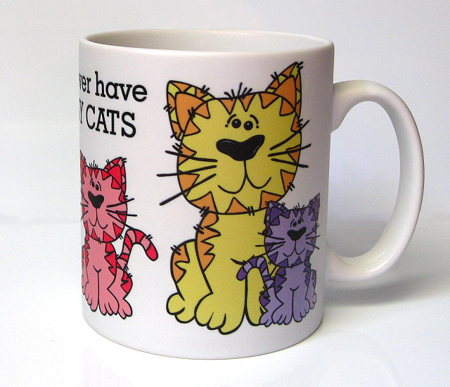 You can never have too many cats - set of four mugs and coasters