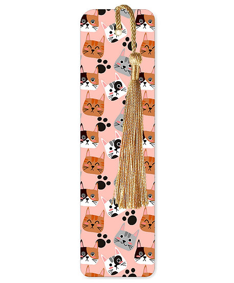 Ginger, grey and white cats bookmark with tassel