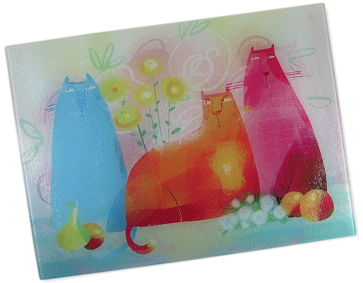 The Quirky Cats glass chopping board
