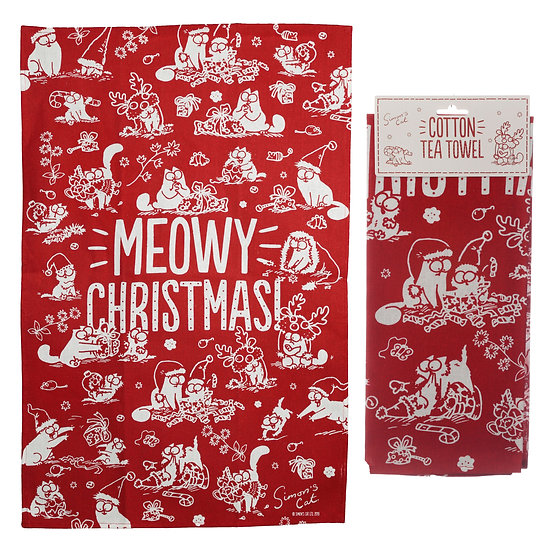 Simon's Cat Meowy Christmas tea towel
