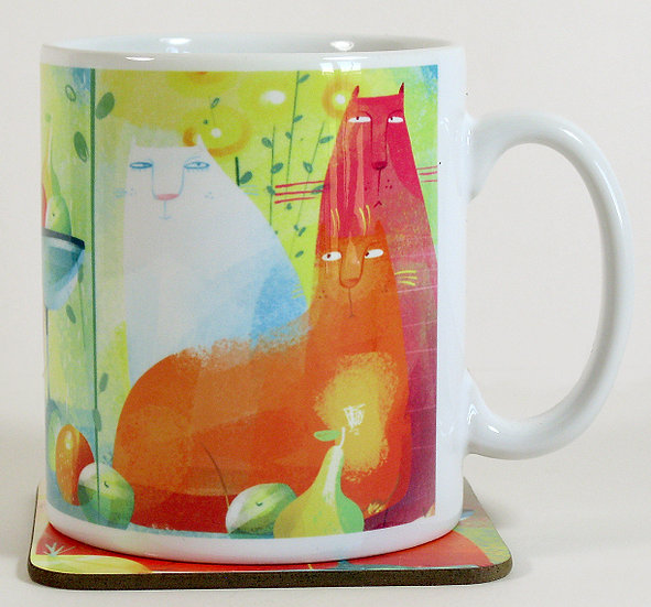 The Quirky Cats mug and optional coaster