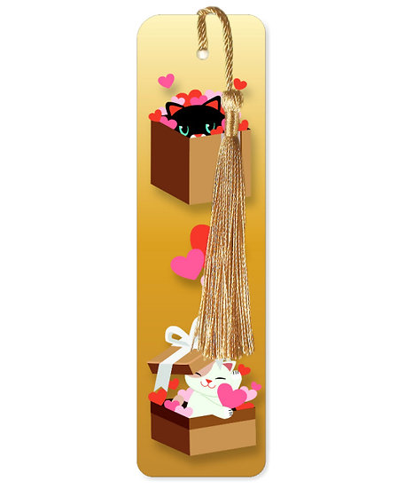 Cats in boxes bookmark with tassel