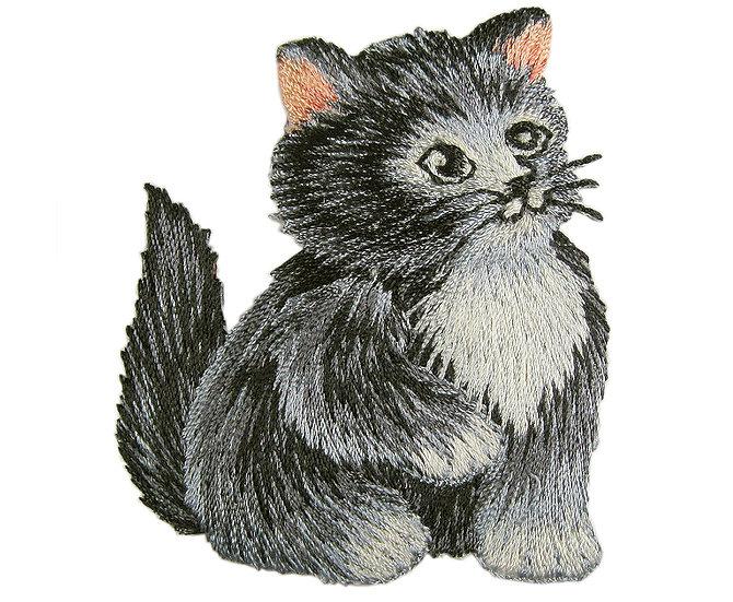 Grey kitten heat seal iron-on embroidery badge