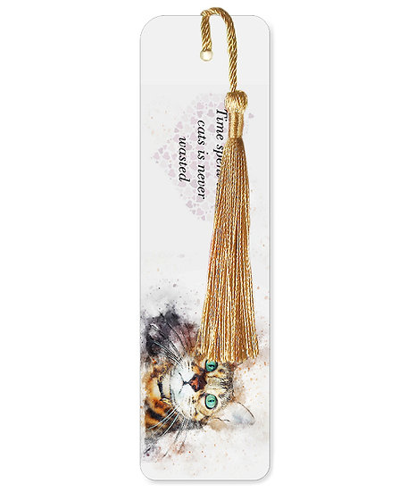 Time spent with cats bookmark with tassel