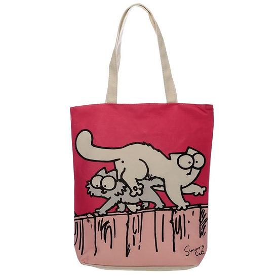 Simon's Cat zipped cotton bag - pink