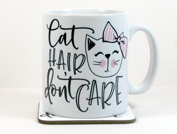 'Cat hair, don't care' mug and optional coaster