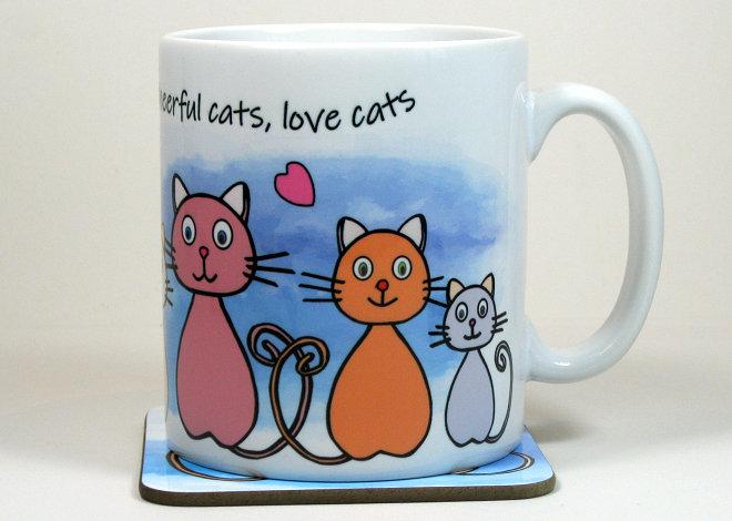 Happy cats mug and optional coaster