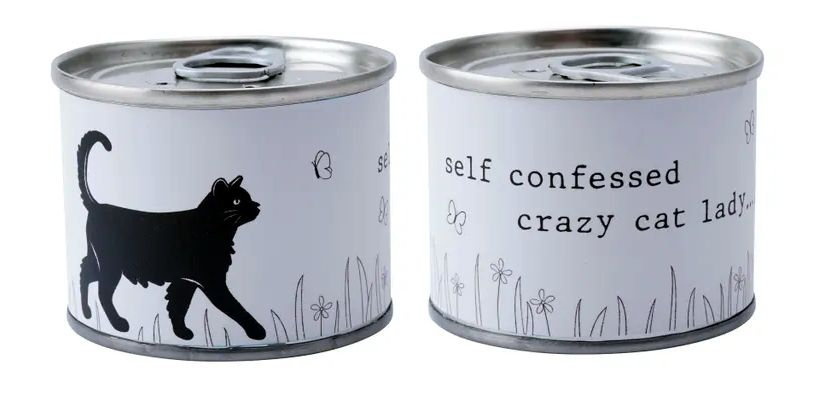 Crazy cat lady candle in a can