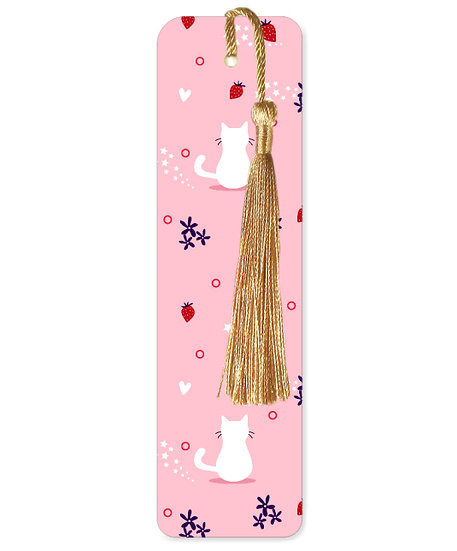 White cat bookmark with tassel