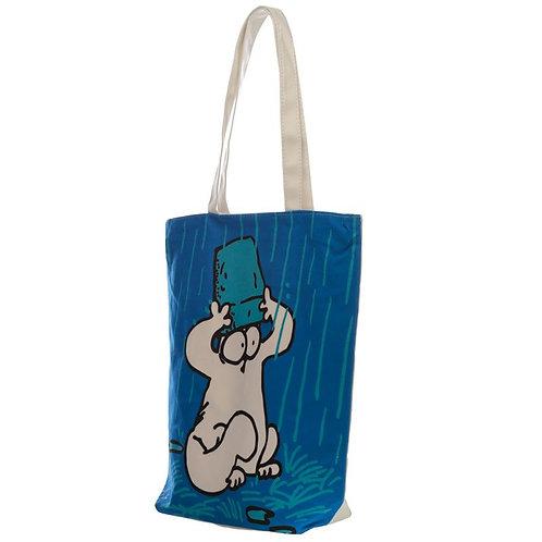 Simon's Cat zipped cotton bag - blue