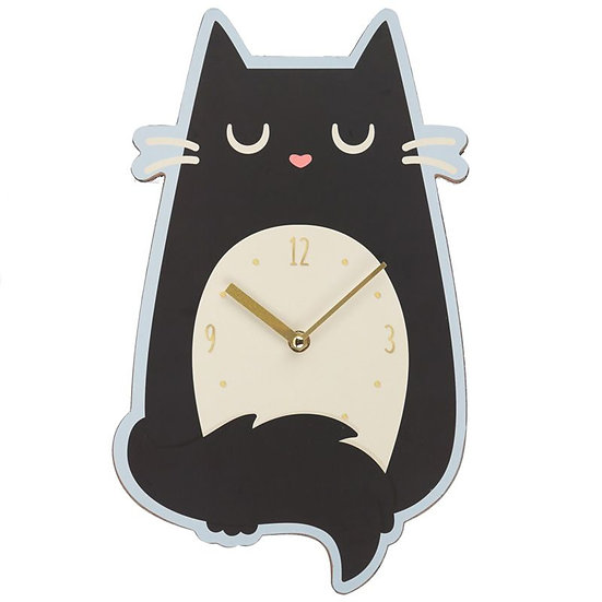 'Feline Fine' black cat wall clock