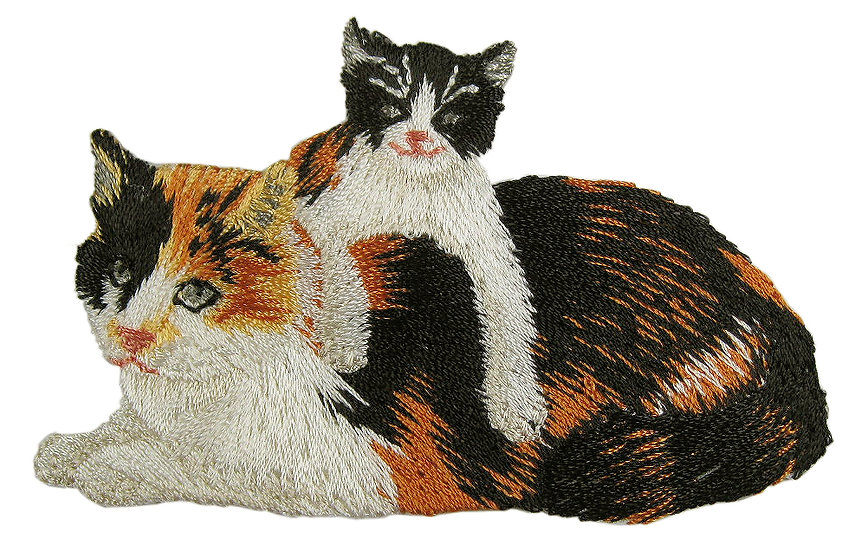Calico cats heat seal iron-on embroidery badge