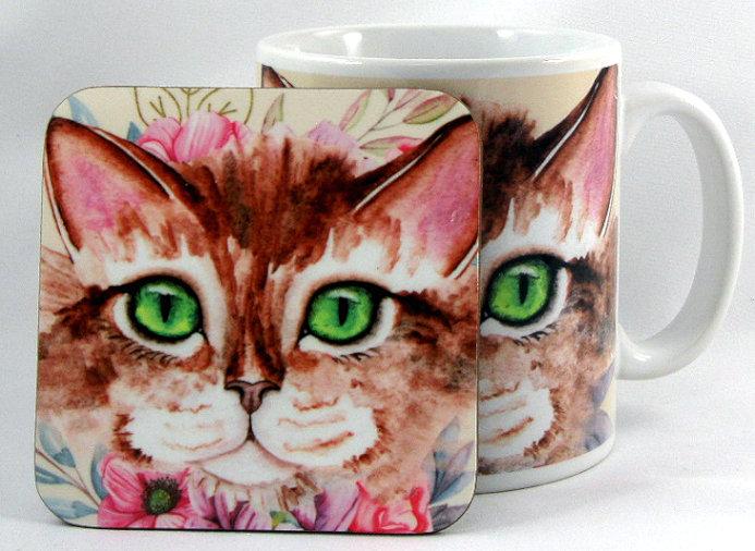 Alix cute cat mug and optional coaster