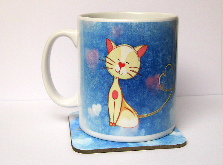 Love cat mug and and optional coaster