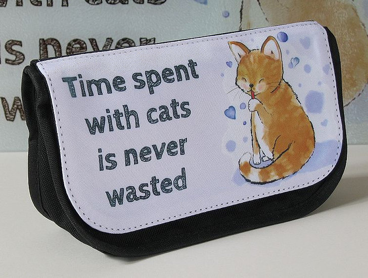 Sandy cat 'Time spent with cats is never wasted' make up bag / pencil case