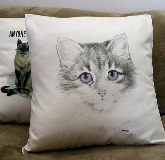 Lavender cat cotton cushion