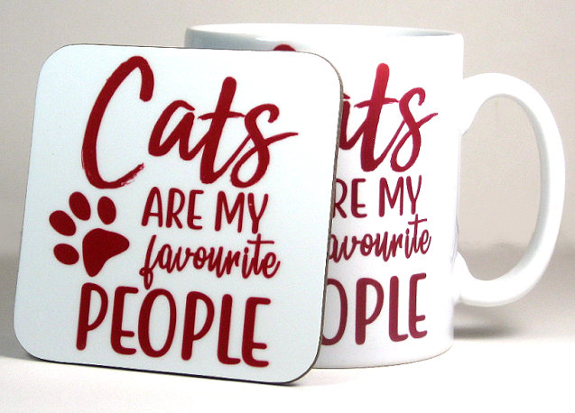 'Cats are my favourite people' mug and optional coaster