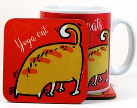 Yoga cat mug and coaster