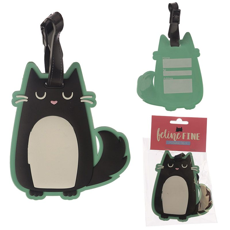 Feline Fine luggage tags
