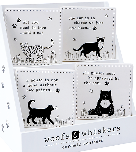 Woofs & Whiskers ceramic coasters