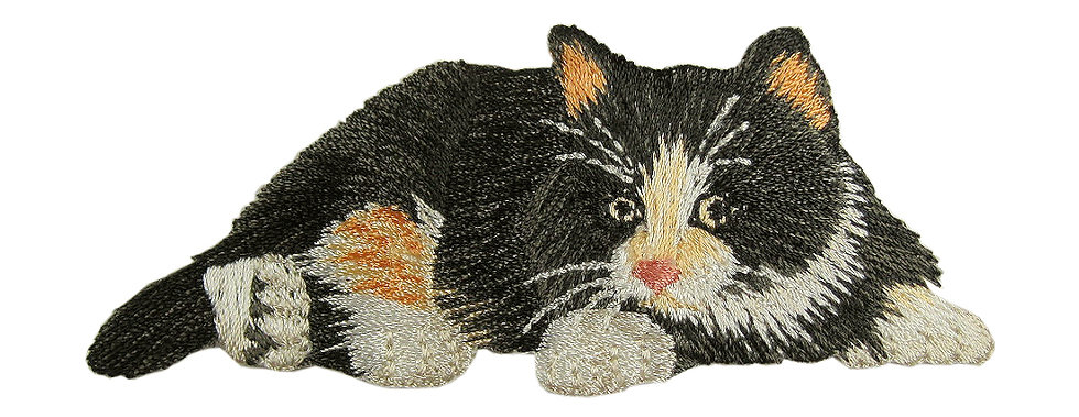 Calico cat heat seal iron-on embroidery badge