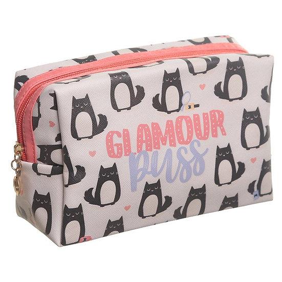 Feline Fine glamour puss PVC make up / wash bag
