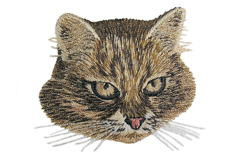 Tabby cat heat seal iron-on embroidery badge